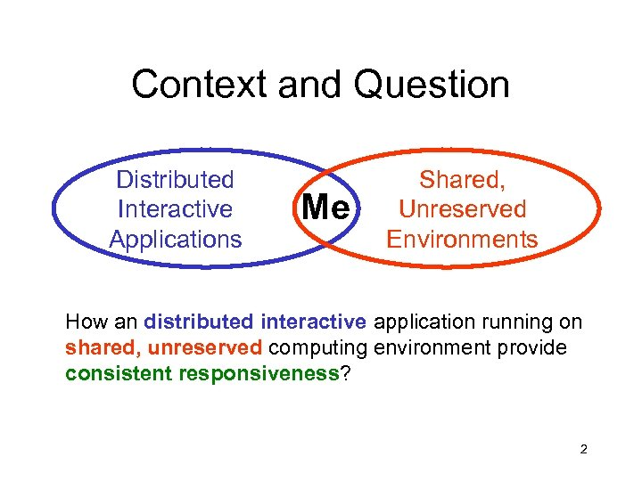 Context and Question Distributed Interactive Applications Me Shared, Unreserved Environments How an distributed interactive
