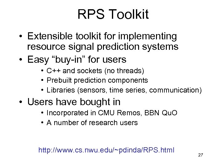 """RPS Toolkit • Extensible toolkit for implementing resource signal prediction systems • Easy """"buy-in"""""""