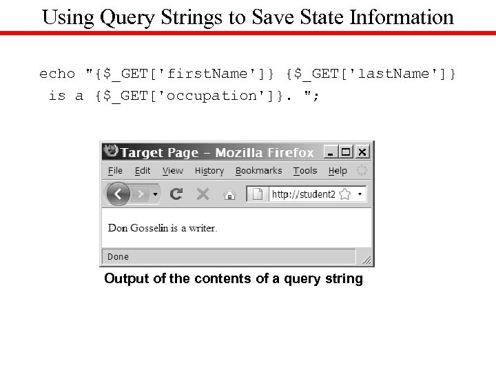 Using Query Strings to Save State Information echo