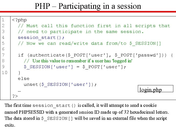 PHP – Participating in a session 1 <? php 2 // Must call this