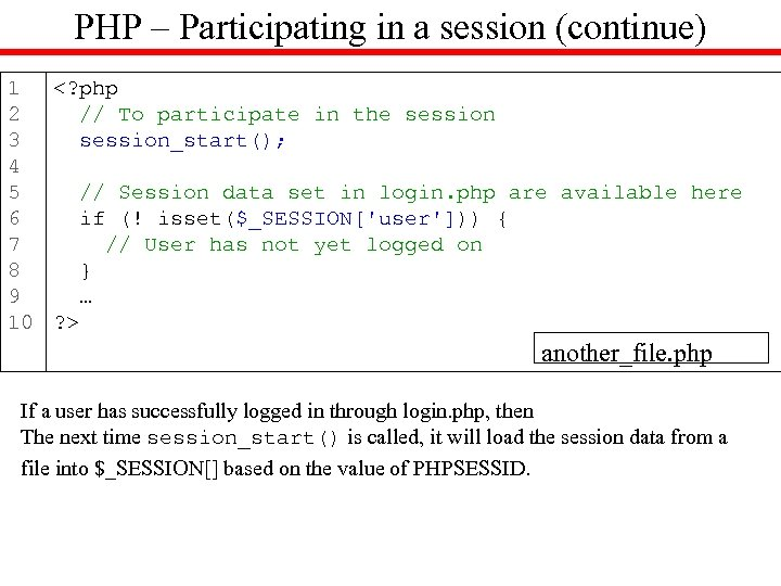 PHP – Participating in a session (continue) 1 <? php 2 // To participate