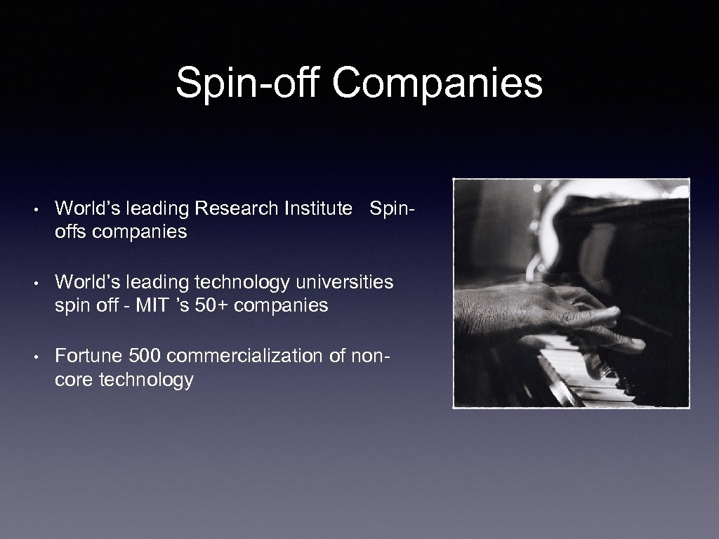 Spin-off Companies • World's leading Research Institute Spinoffs companies • World's leading technology universities