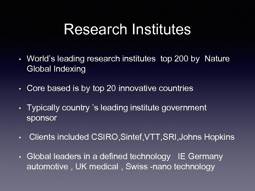 Research Institutes • World's leading research institutes top 200 by Nature Global Indexing •