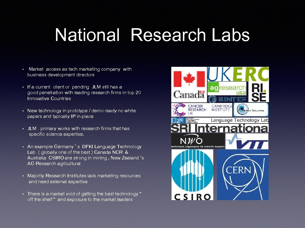 National Research Labs • Market access as tech marketing company with business development