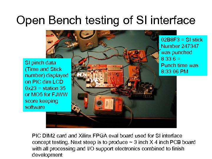 Open Bench testing of SI interface SI pinch data (Time and Stick number) displayed