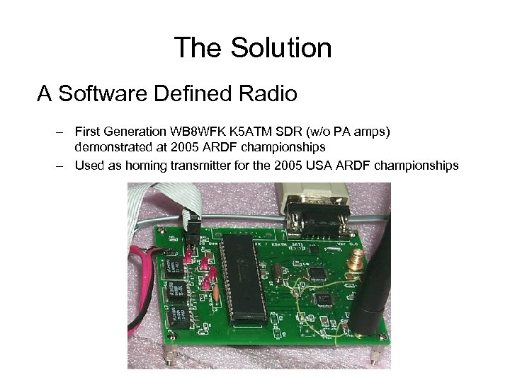 The Solution A Software Defined Radio – First Generation WB 8 WFK K 5