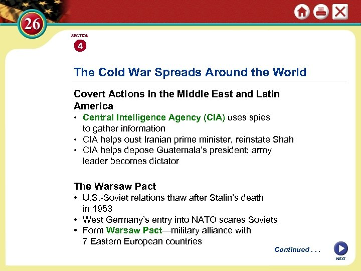 SECTION 4 The Cold War Spreads Around the World Covert Actions in the Middle