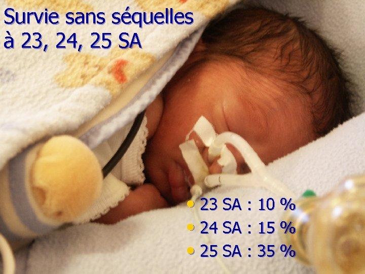 Survie sans séquelles à 23, 24, 25 SA • 23 SA : 10 %