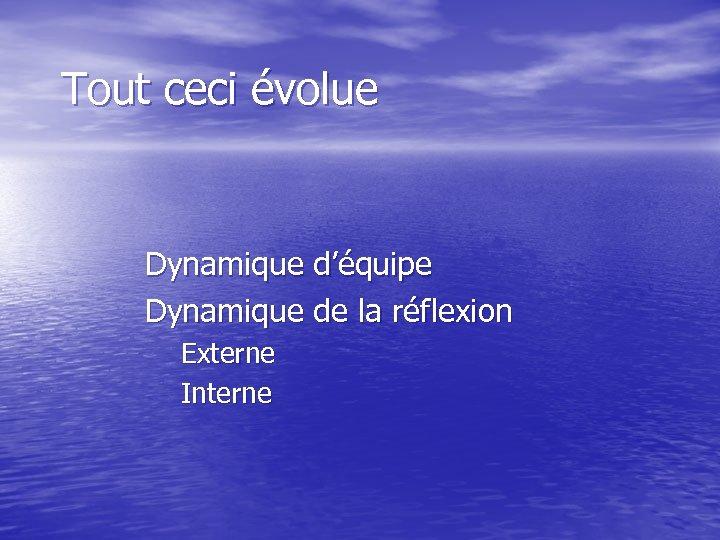 Tout ceci évolue Dynamique d'équipe Dynamique de la réflexion Externe Interne