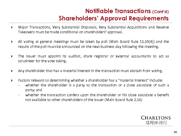 Notifiable Transactions (Cont'd) Shareholders' Approval Requirements Major Transactions, Very Substantial Disposals, Very Substantial Acquisitions