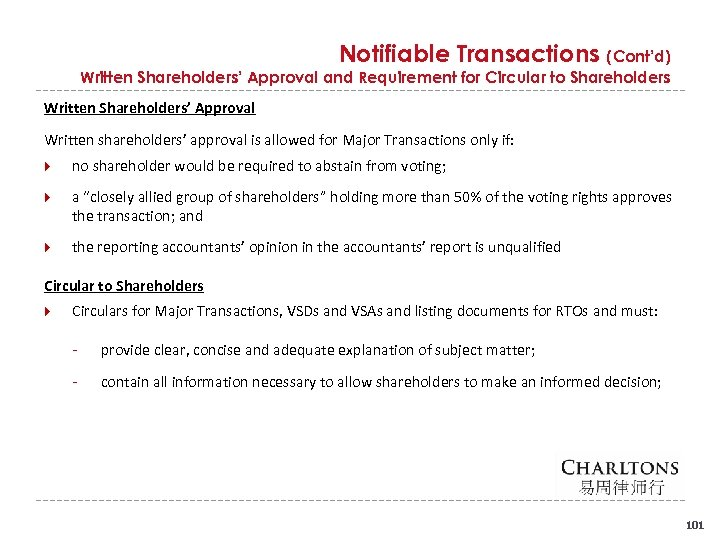 Notifiable Transactions (Cont'd) Written Shareholders' Approval and Requirement for Circular to Shareholders Written Shareholders'