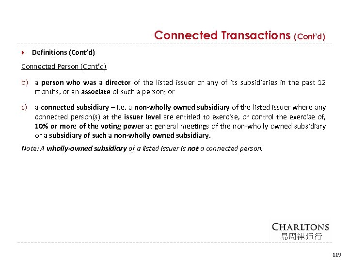 Connected Transactions (Cont'd) Definitions (Cont'd) Connected Person (Cont'd) b) a person who was a