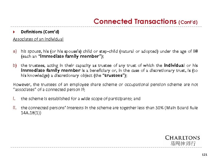 Connected Transactions (Cont'd) Definitions (Cont'd) Associates of an individual a) his spouse, his (or