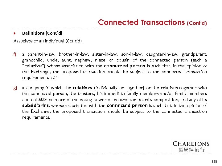 Connected Transactions (Cont'd) Definitions (Cont'd) Associate of an individual (Cont'd) f) a parent-in-law, brother-in-law,