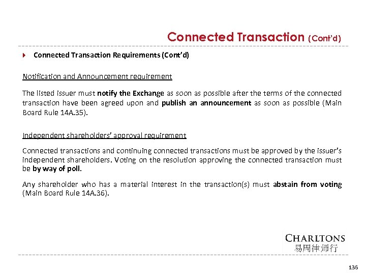 Connected Transaction (Cont'd) Connected Transaction Requirements (Cont'd) Notification and Announcement requirement The listed issuer