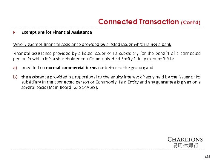 Connected Transaction (Cont'd) Exemptions for Financial Assistance Wholly exempt financial assistance provided by a