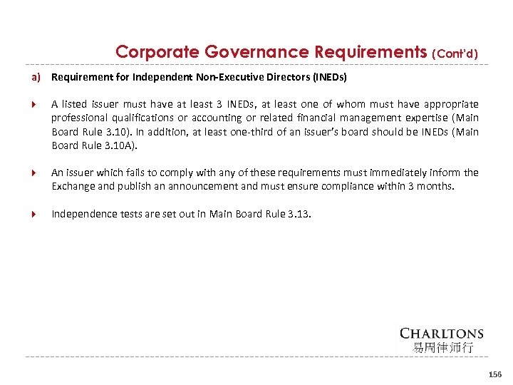Corporate Governance Requirements (Cont'd) a) Requirement for Independent Non-Executive Directors (INEDs) A listed issuer