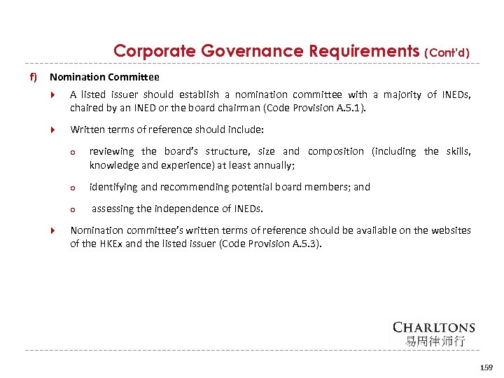 Corporate Governance Requirements (Cont'd) f) Nomination Committee A listed issuer should establish a nomination