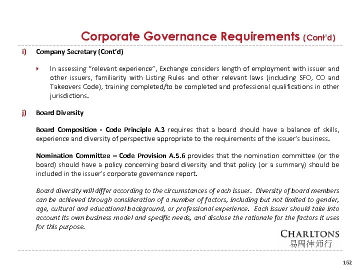 "Corporate Governance Requirements (Cont'd) i) Company Secretary (Cont'd) j) In assessing ""relevant experience"", Exchange"