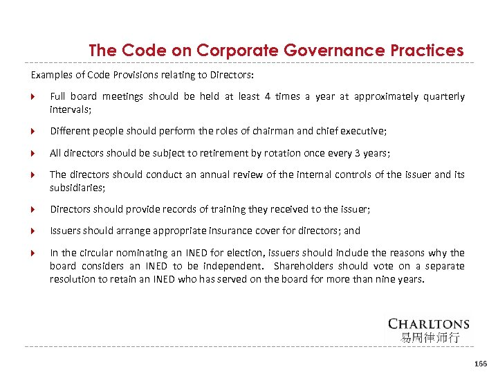 The Code on Corporate Governance Practices Examples of Code Provisions relating to Directors: Full