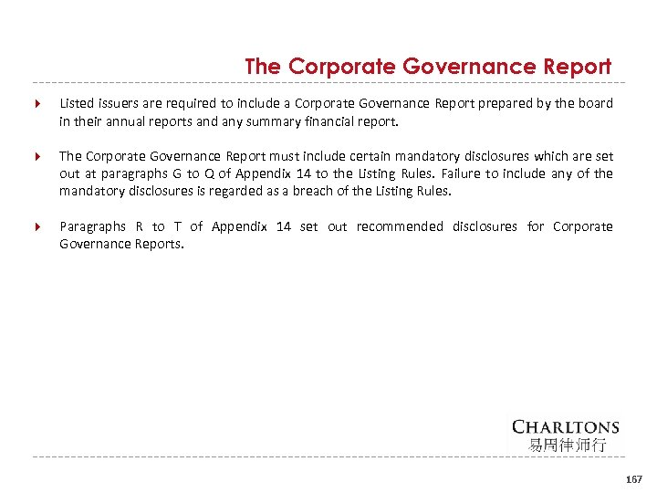 The Corporate Governance Report Listed issuers are required to include a Corporate Governance Report