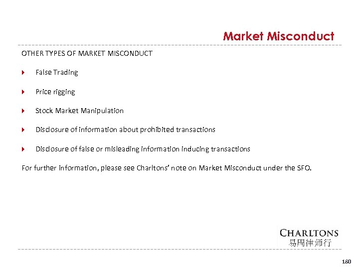 Market Misconduct OTHER TYPES OF MARKET MISCONDUCT False Trading Price rigging Stock Market Manipulation