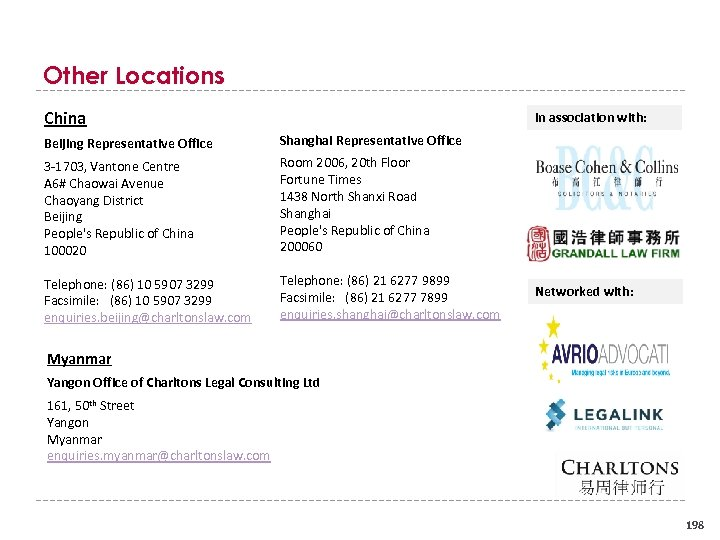 Other Locations China In association with: Beijing Representative Office Shanghai Representative Office 3 1703,