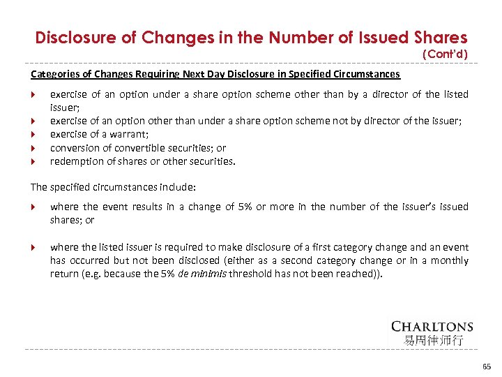Disclosure of Changes in the Number of Issued Shares (Cont'd) Categories of Changes Requiring