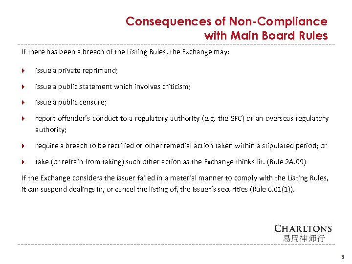 Consequences of Non-Compliance with Main Board Rules If there has been a breach of