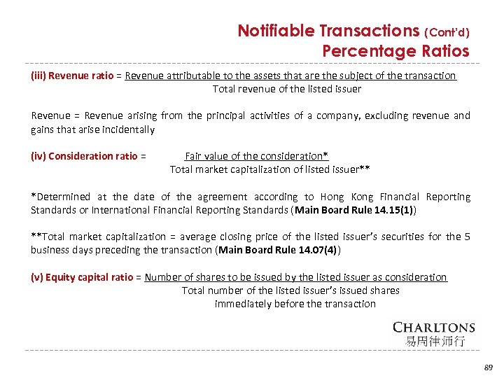Notifiable Transactions (Cont'd) Percentage Ratios (iii) Revenue ratio = Revenue attributable to the assets