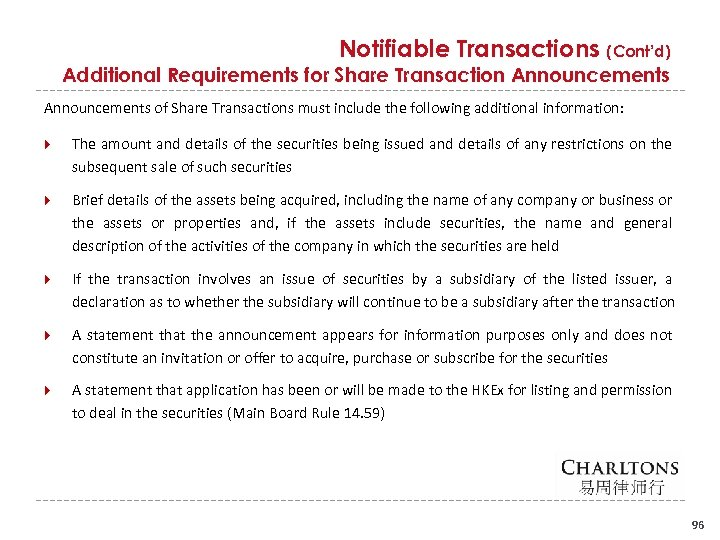Notifiable Transactions (Cont'd) Additional Requirements for Share Transaction Announcements of Share Transactions must include
