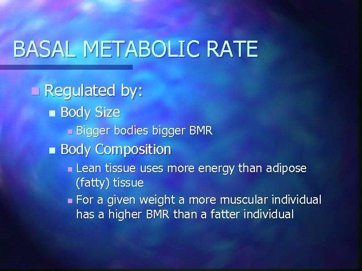 BASAL METABOLIC RATE n Regulated n Body Size n n by: Bigger bodies bigger