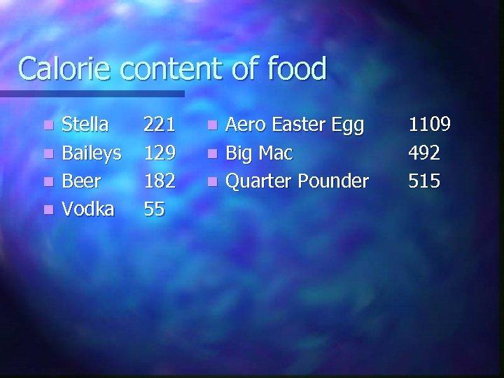 Calorie content of food n n Stella Baileys Beer Vodka 221 129 182 55