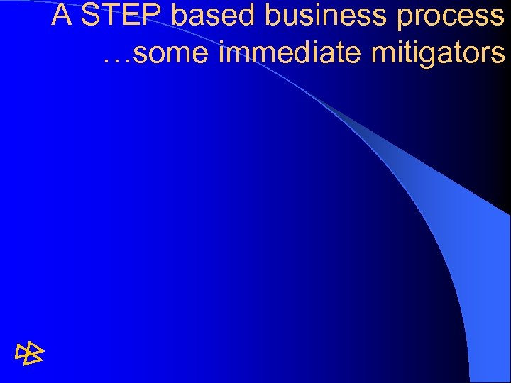 A STEP based business process …some immediate mitigators