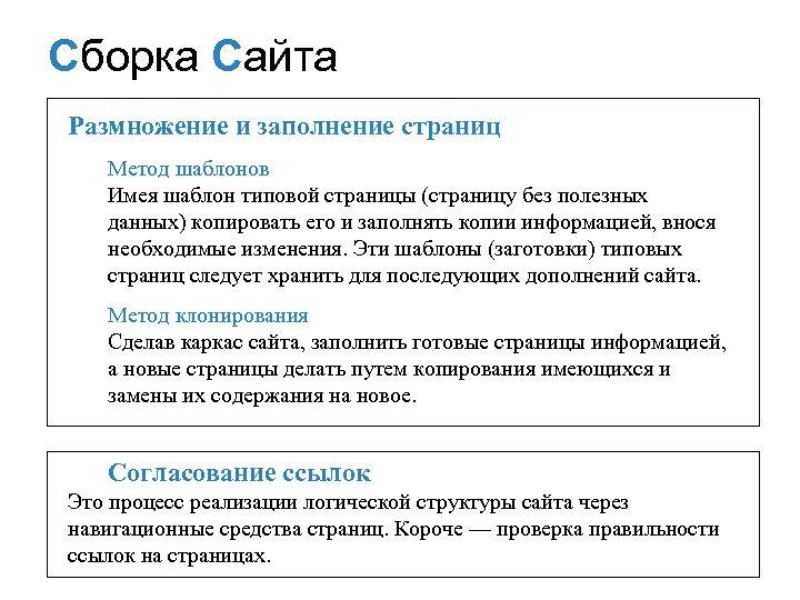 Сборка Сайта СБОРКА САЙТА Размножение и заполнение страниц Mетод шаблонов Имея шаблон типовой страницы