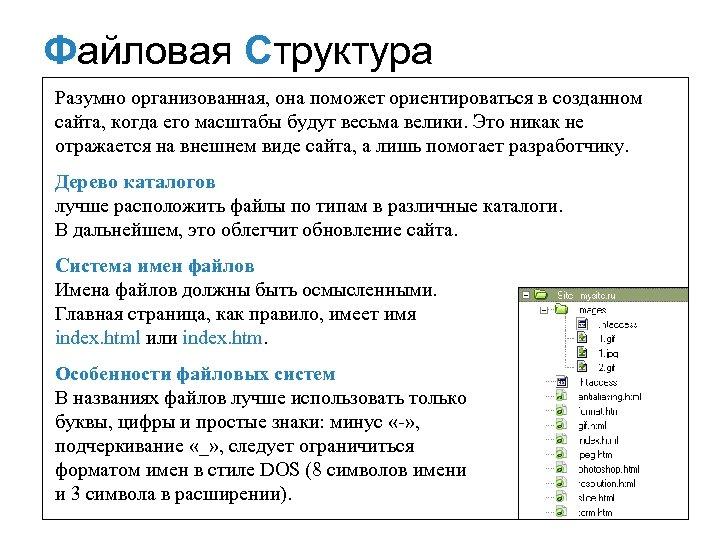Файловая Структура Разумно организованная, она поможет ориентироваться в созданном сайта, когда его масштабы будут