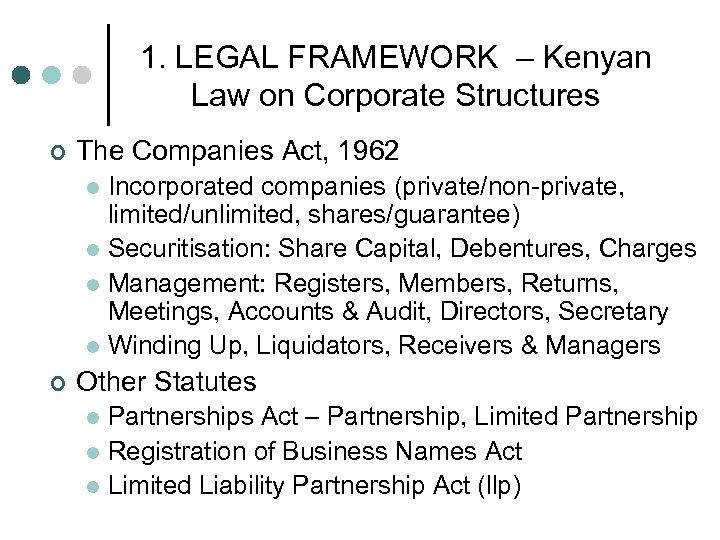 1. LEGAL FRAMEWORK – Kenyan Law on Corporate Structures ¢ The Companies Act, 1962