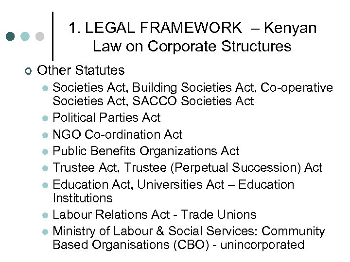1. LEGAL FRAMEWORK – Kenyan Law on Corporate Structures ¢ Other Statutes Societies Act,