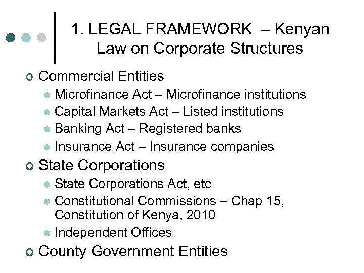 1. LEGAL FRAMEWORK – Kenyan Law on Corporate Structures ¢ Commercial Entities Microfinance Act