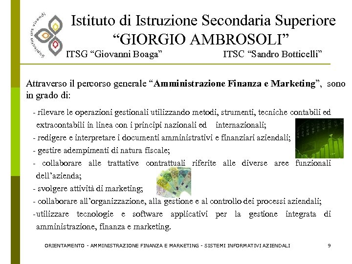 """Istituto di Istruzione Secondaria Superiore """"GIORGIO AMBROSOLI"""" ITSG """"Giovanni Boaga"""" ITSC """"Sandro Botticelli"""" Attraverso"""