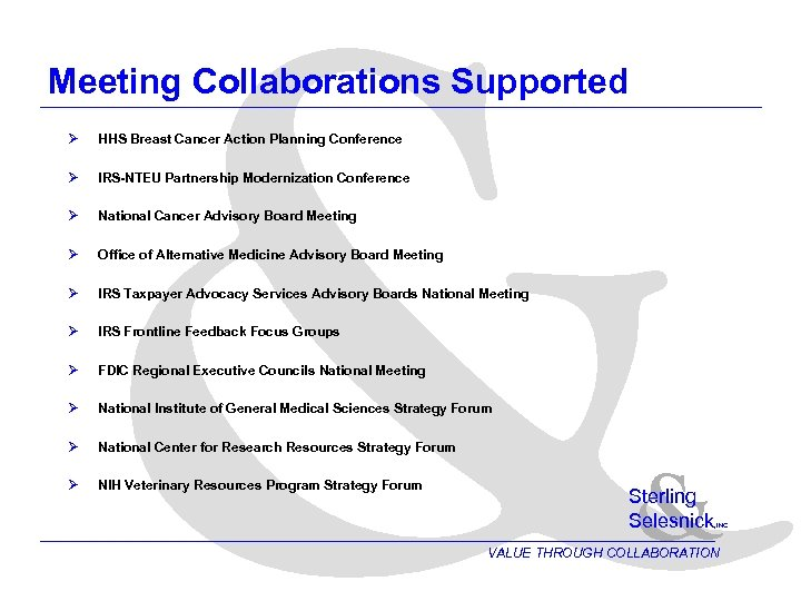 & Meeting Collaborations Supported Ø HHS Breast Cancer Action Planning Conference Ø IRS-NTEU Partnership