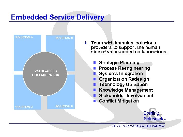 & Embedded Service Delivery SOLUTION A SOLUTION B Ø Team with technical solutions providers