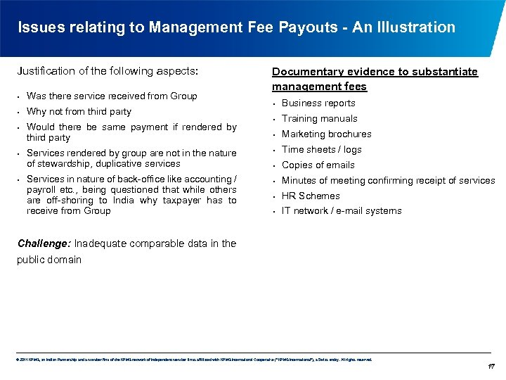 Issues relating to Management Fee Payouts - An Illustration Justification of the following aspects: