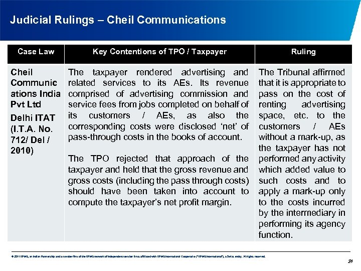 Judicial Rulings – Cheil Communications Case Law Key Contentions of TPO / Taxpayer Ruling
