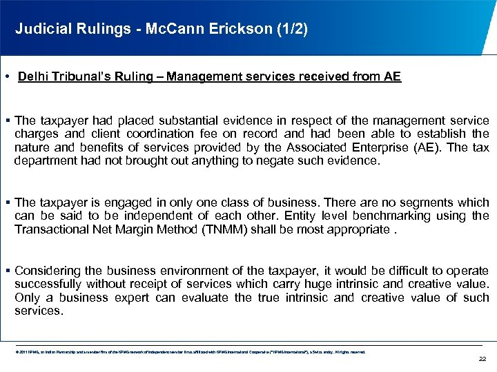 Judicial Rulings - Mc. Cann Erickson (1/2) • Delhi Tribunal's Ruling – Management services