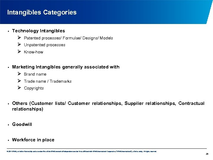 Intangibles Categories • Technology Intangibles Ø Ø Ø • Unpatented processes Know-how Marketing Intangibles