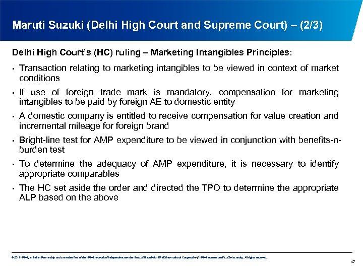 Maruti Suzuki (Delhi High Court and Supreme Court) – (2/3) Delhi High Court's (HC)