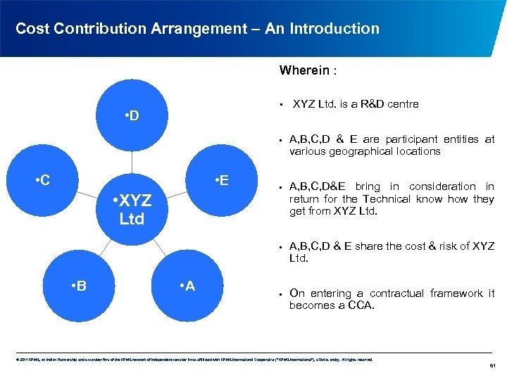 Cost Contribution Arrangement – An Introduction Wherein : • • D • • C