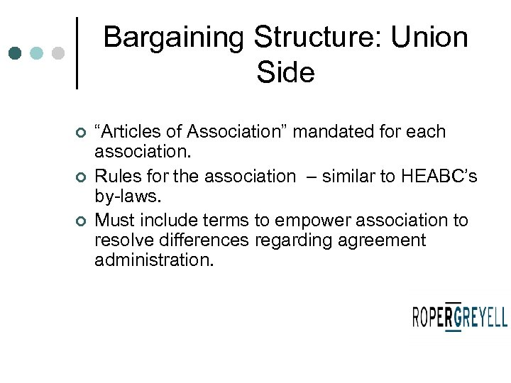 "Bargaining Structure: Union Side ¢ ¢ ¢ ""Articles of Association"" mandated for each association."
