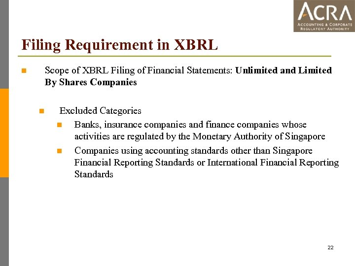 Filing Requirement in XBRL Scope of XBRL Filing of Financial Statements: Unlimited and Limited